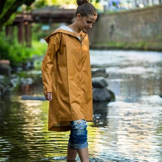 raincoat lightweight raincoat water resistant orange raincoat gold raincoat unisex raincoat loosy fit