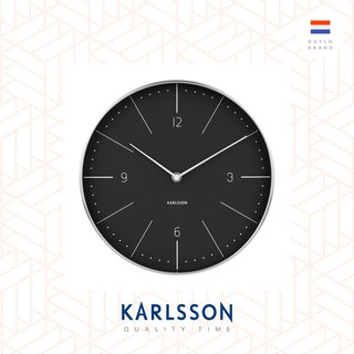 Karlsson, Wall clock Normann numbers black, brushed case