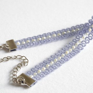 Tatting and freshwater pearl bracelet<Hydrangea>