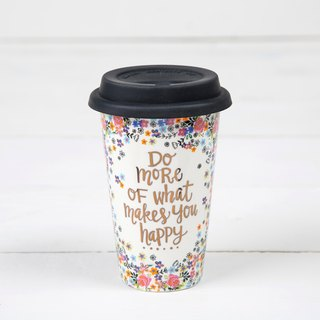 Ceramic insulated double-layer cup 12oz-Do More Happy ∣ TMUG032