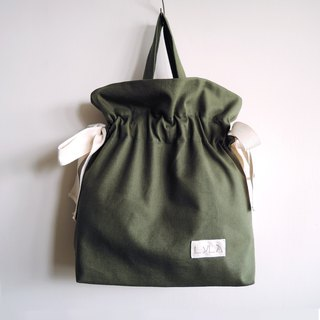 3 way bag with big bow - Olive green