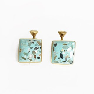[Grindstone] four sides - pink ground Terrazzo brass clip earrings
