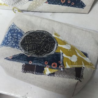 Primary color washed cotton and linen collage storage bag cosmetic bag clutch bag