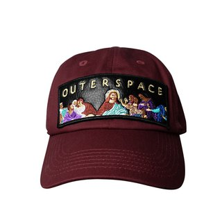 OUTER SPACE Last Supper Embroidered Old Hat (Wine Red)