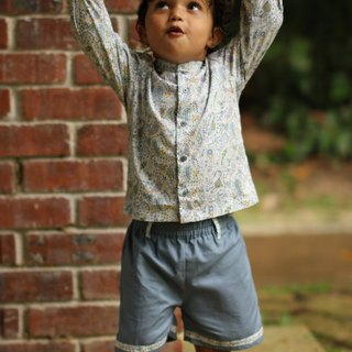 Baby boy long sleeve shirt and shorts grey