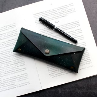 Aurora leather large capacity pencil bag leather pen case stationery bag glasses case can be customized graduation gift