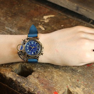 Steam punk light accumulating dial wristwatch BLUE