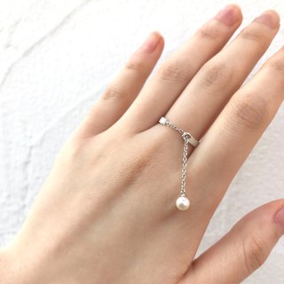 2 way Spring Ring of Akoya Pearl