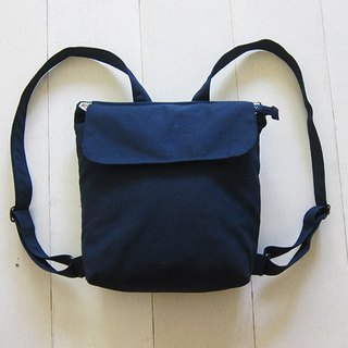 Canvas Backpack- Small - Navy + Creamy-White