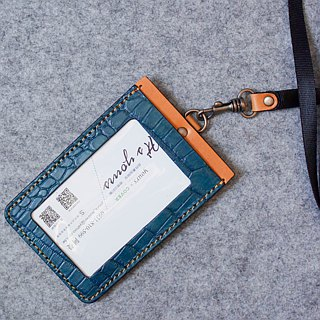 YOURS leather straight document holder (with neck rope webbing) limited crocodile pattern + egg yellow leather
