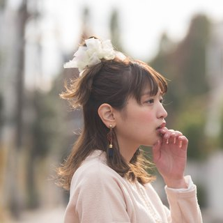 mini || Japanese Snowball : Blooming Sakiami Colourful Hair Scrunchy
