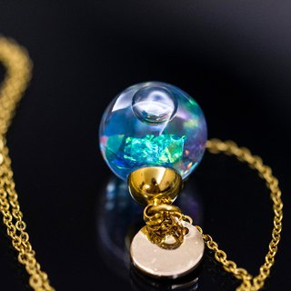 Mermaid's Scale Glass Ball Stainless Steel Necklace