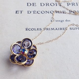 14kgf Vintage Swarovski Chanel Flower Necklace Tanzanite