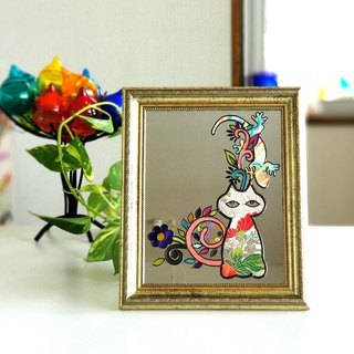 "Desktop / wall hanging fountain mirror ""Cats and Houselizard"""