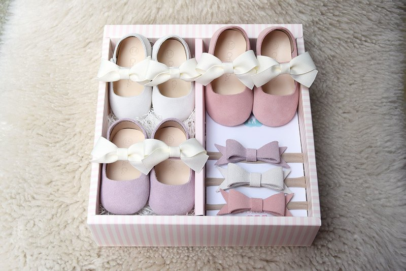 602275aea1591 Baby Gift Set for Girls, Set of 3 Baby Shoes NB/3M/6M, Newborn Gift Girl