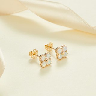 【PurpleMay Jewellery】18k Yellow Gold Clover Opal Stud Earring E019
