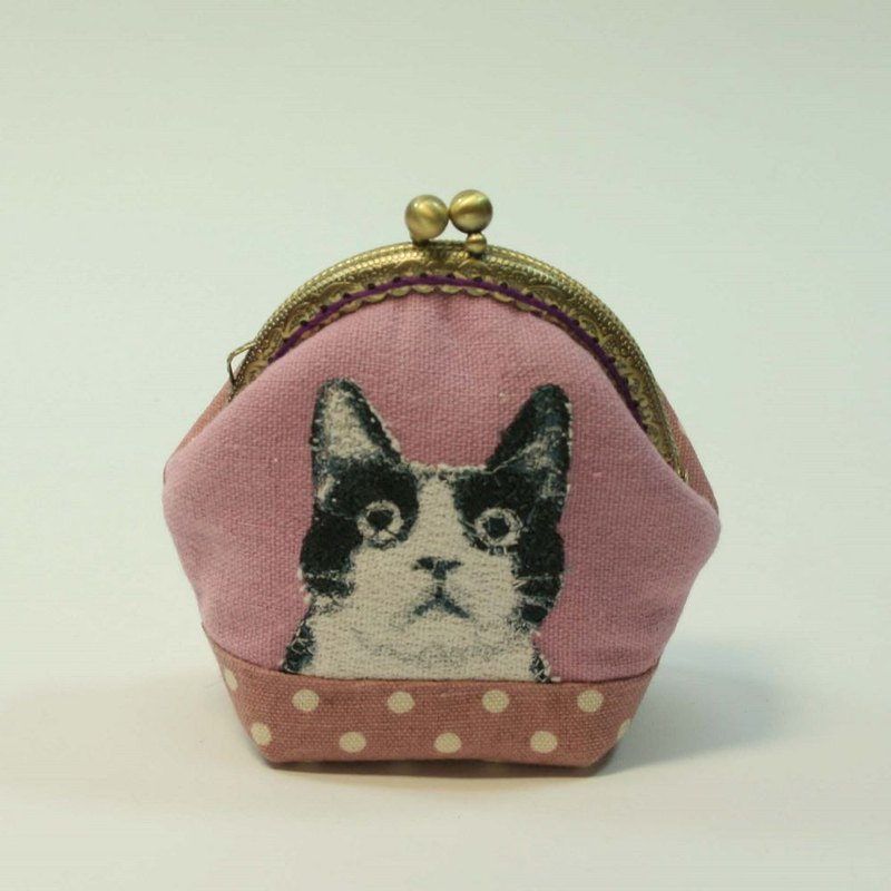 Embroidery 8.5cm gold coin purse 24 - black and white cat