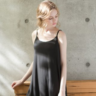 No steel ring pajamas [exclusive 2in1] innocent elf plain lace cotton soft short dress home service - black