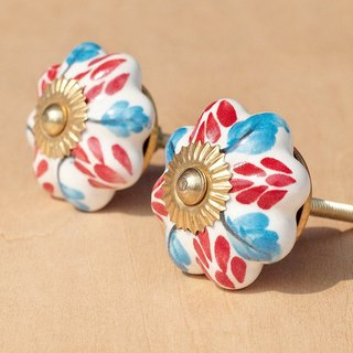 British creative gift retro hand-painted ceramic handle / ceramic doorknob / doorknob ceramic window - fresh wind red + blue flowers