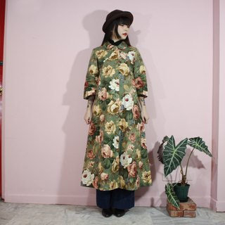 (Vintage Jacket) (Made in Japan) Green Classic Flower Cover Buckle Coat (Yohko-Tokyo-Kobe)