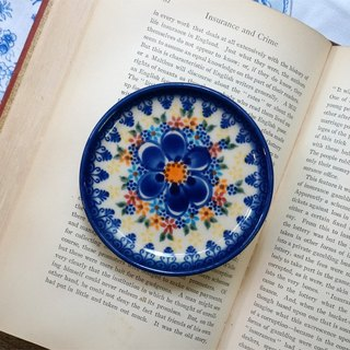 Poland Hand Painting Coaster (large blue flowers)