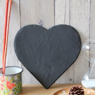 British Selbrae House natural black slate love shape cutting board / tray 25 cm (set of two)