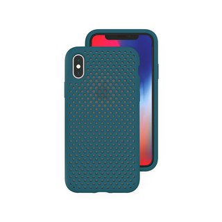AndMesh iPhoneX/Xs Japan QQ network soft anti-collision protection cover - Lake Green4571384958363