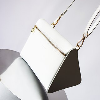 MBS 【Series of White】 Sugino production I white series simple geometric Shoulder Bag Lady leather white Messenger Bag
