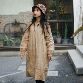 Hour light | milk tea apricot small square collar linen dress dress classic round neck with copper buckle lantern sleeves
