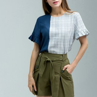 NEGA C. Colorblock Plaid Ruffle Sleeve Top - Dark Blue