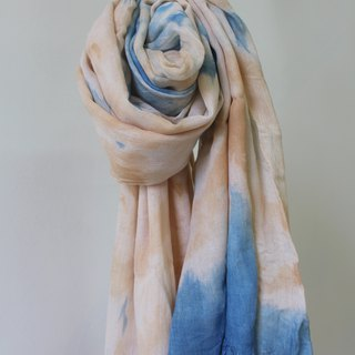 Comfortable blue staining isvara Vegetation Dyeing cotton scarf series of pure f