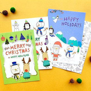 Merry christmas Christmas postcard set of four envelopes