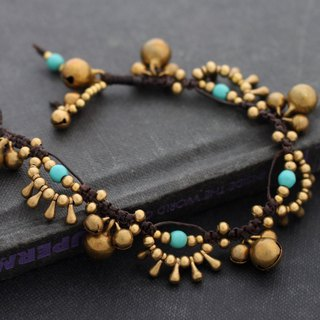 Turquoise Beads Bracelets, Brass Beaded Bracelets Chandelier Woven Beaded Cuff