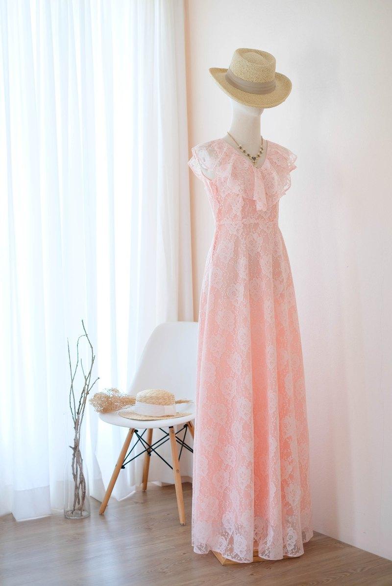 粉色緋紅蕾絲長連衣裙夏季連衣裙伴娘禮服雞尾酒會禮服
