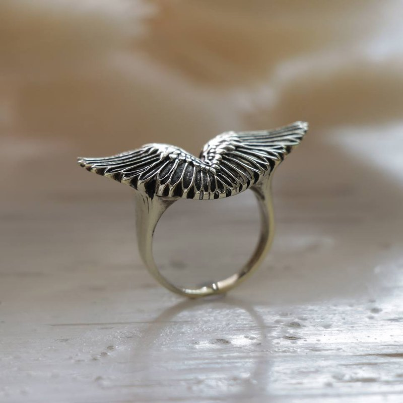 angel wing ring silver sterling GOTHIC SILVER Bird fly Biker gift for her women