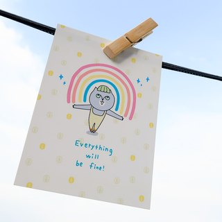 明信片_Everything will be fine # YogiPapa #黑眼包插畫