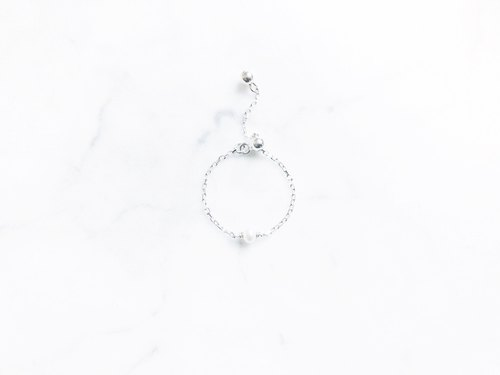 ::Shimmer Light Chain Ring :: Mini Pearl Cut Stainless Steel Adjustable Chain Link