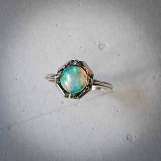 Green Opal Retro Silver Ring