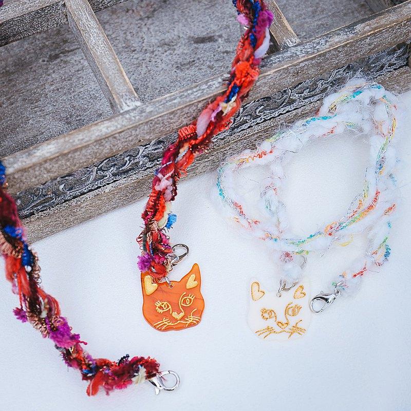 口罩掛繩 貓咪圖騰 混紗線 手作編織 口罩鍊 防疫