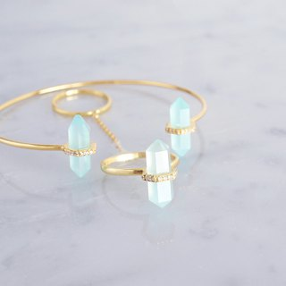 【Gold Vermeil / Gemstone】 Aqua Chalcedony, White Zircon Gold Open Bangle