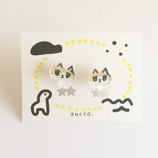 Hairy cat's non-hole earrings