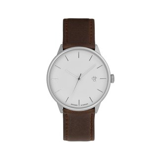 Khorshid series silver white dial brown leather watch