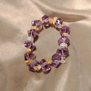 Amethyst and citrine elastic bracelet