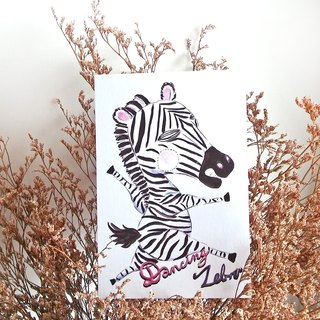 Dancing Zebra post card - Hand Drawn