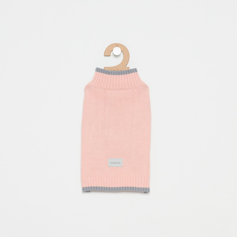 [Tail and me] pet clothes fine-cut color sweater powder