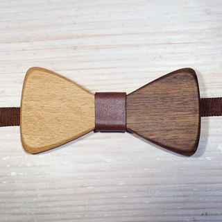 Natural wood bow tie - beech + walnut + brown leather (wedding / newcomer / official occasion)