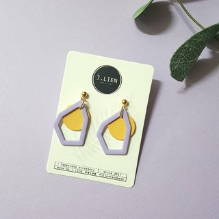 Color block painter - purple yellow color ear clip / ear clip handmade earrings Korea direct