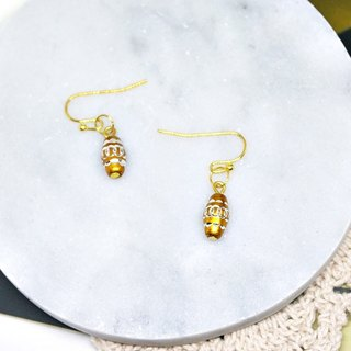 * _ * Pot of gold alloy hook earrings
