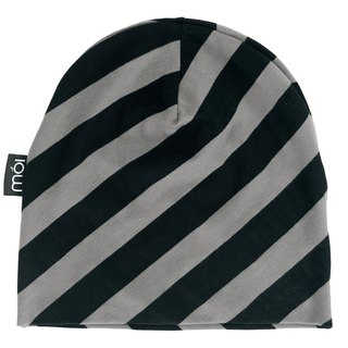 [Nordic children's clothing] Icelandic organic cotton can be folded back double-sided hat stripes black