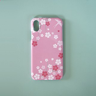 Plastic iPhone case - Japanese Cherry Blossoms and Swallow -